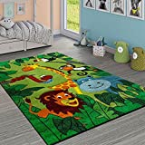 Paco Home Tapis pour Enfant Jungle Animaux Vert, Dimension:80x150 cm