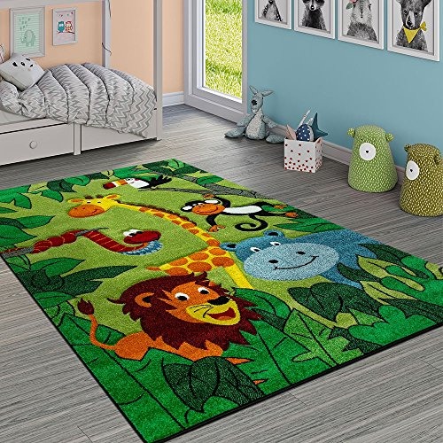 Paco Home Alfombra Infantil Animales Selváticos Verde, tamaño:140x200 cm