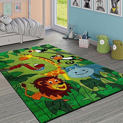 dschungel teppich Paco Home Kinderteppich Kinderzimmer Dschungel Tiere Giraffe Löwe AFFE Nilpferd Grün, Grösse:120x170 cm