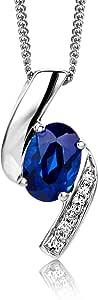 Miore Diamond and Saphire/ Ruby/Smeraldo/ Topazio/Ametista Collana da donna in oro bianco 9 carati (375) - 45 cm ()