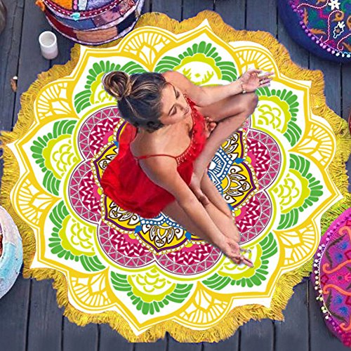 KFHSNJ Impresión Tapiz,Poligonal Bola Colgante,Borla Circular Toalla de Baño Estera de la Yoga Playa de Colores Toalla-A 150x150cm(59x59inch)