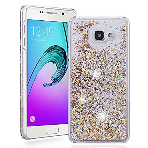 SMARTLEGEND Bling Samsung Galaxy A5 2016 Version PC Case Clear Crystal Glitter Sandglass Diamond Ultra Thin Hard Back Panel Bumper Shedding Lightweight Shining Transparent Protective Phone Case -Golden