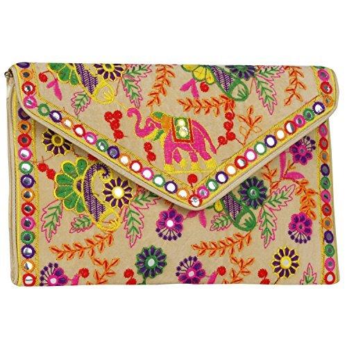 Suman Enterprises Handtasche/Umhängetasche, Motiv: indischer Elefant, bestickt, Banjara, faltbar, verschiedene Farben (Handtasche Patch Sling)