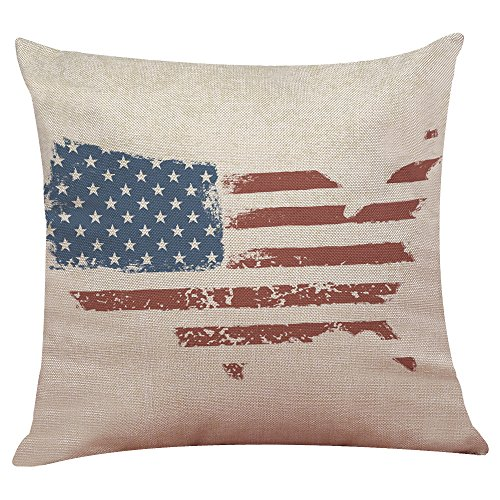 Doingshop Vintage Amerikanische Flagge Kissenbezug Baumwolle Leinen Sofa Mat Set Home Decor Schlafkissen