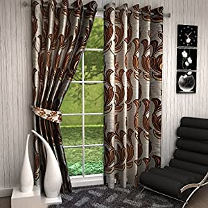 Deziner Decor 2 Piece Polyester Eyelet Window Curtain - 5ft, Brown and Grey