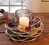 """Deko Windlicht """"Red Star"""", 2tlg. Sterne Kerzenhalter Weihnachten Kerzenständer Teelichthalter Natur Holz Wehnachtdeko Herbstdeko"""