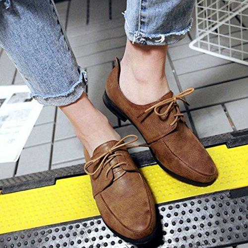 TAOFFEN Femme Decontracte Plat Chaussures Lacets Esacrpins Marron