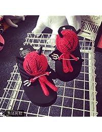 XIAMUO Puppe Hausschuhe Voodoo Puppe Pin Flip Flop Frau Sommer Muffin Dick unten 41 schwarze Puppe (Qufu mit...
