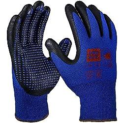 PRO FIT NI-Thermo Nitril-Feinstrickhandschuh, 12 Paar, Blau/Schwarz, mit Punktbenoppung Größe 7