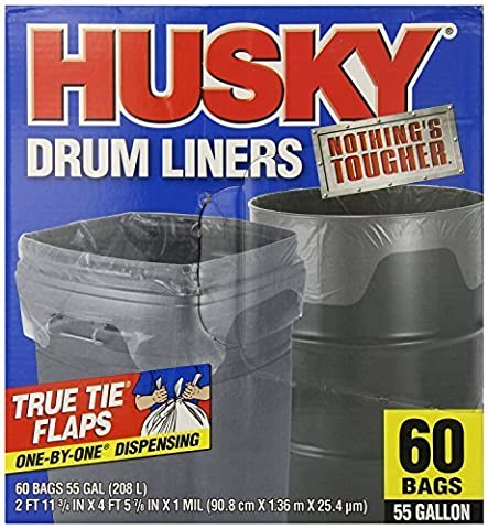 Husky Drum Liners, 55 Gal Clear, 120 ct (4buk10tz9) Poly-America-ah by Poly-America