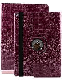 iPad Air cuero case,elecfan ® SmartCase Sueño para iPad Air,360 grados de Rotación PU Funda de Cuero Ultra-delgado Caso Ligero Estuche Impermeable Cubierta Elegante con soporte Multi-ángulo de Visualización Anti-scratch Funda Protectora (iPad Air, Púrpura)