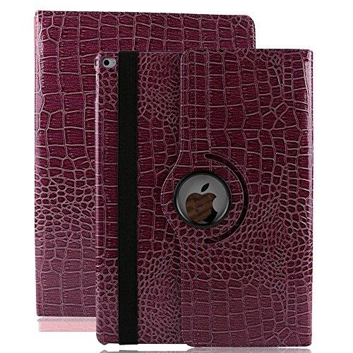 Fälle Ipad Für Kinder 3 (iPad 2 Hülle , elecfan ® 360 Grad Rotierende PU Leder Hülle Ultra Dünnen Leichtgewicht Tasche Wasserdicht Case Smart Cover mit Ständer Multi Winkel Betrachtung Anti Kratzer Schutzhülle für iPad 2 3 4 (iPad 2 3 4, Lila))