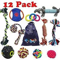 Forwindog Juego de 12 juguetes indestructibles para masticar a perros, cuerdas chirriantes para cachorros,
