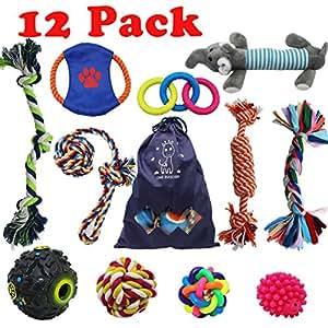 Forwindog 12pezzi Chew Dog Toys indistruttibile set giocattoli Squeaky Ropes Puppy dentizione per piccolo medio cane giocattoli