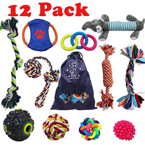 Forwindog Juego de 12 juguetes indestructibles para masticar a perros, cuerdas chirriantes para cachorros, juguetes de dentición para perros pequeños y medianos