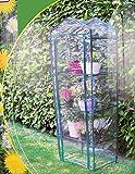 Vetrineinrete® Serra da giardino 3 ripiani per terrazzo e balcone protezione per piante e fiori orto alta 165 cm con scaffalature in metallo apertura roll-up F6
