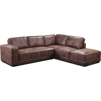 SC Furniture Ltd Grey High Grade Genuine Leather Corner Sofa ...