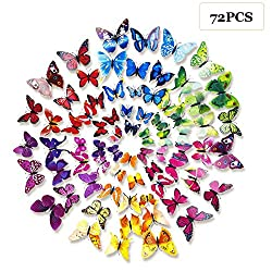 STARVAST 72PCS 3D Butterfly Wall Stickers Removable Wall Art Sticker Decal for Home and Room Decoration (6 Colors)