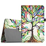 Huawei MediaPad T1 10 Case - Fintie Premium PU Leather Slim Fit Folio Stand Cover with Stylus Loop for Huawei Media Pad T1 10.0 inch Android Tablet, Love Tree