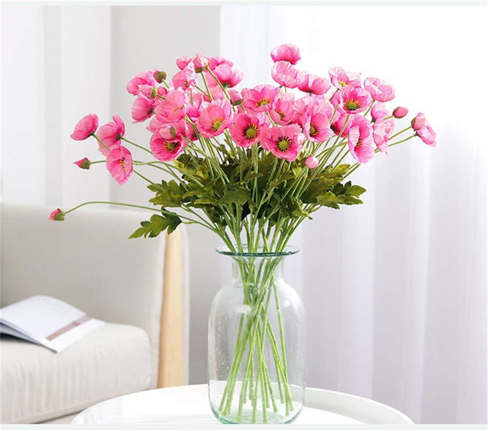 Lmy0624 Rama De Flor Artificial Flores De Amapola con Hojas Flor Artificial para Decoración De Fiesta En Casa Amapolas…