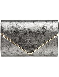 CASPAR TA349 Damen elegante Envelope Clutch Tasche / Abendtasche mit langer Kette