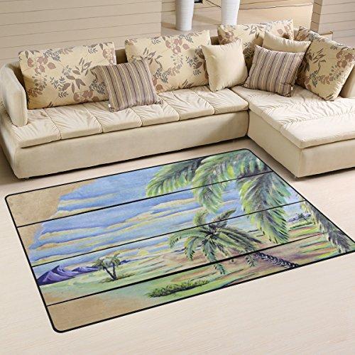 Fuß Palm Tree (bennigiry Home Zeitgenössische Island in the Ocean Palm Tree Seestern bemalt Bereich Teppiche 1