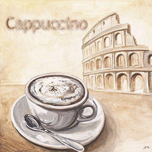 Artland Qualitätsbilder I Poster Kunstdruck Bilder 50 x 50 cm Ernährung Genuss Getränke Kaffee Malerei Creme A6PE Cappuccino in Rom