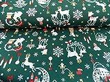 Rico Design Angebot: Dekostoff Baumwolle grün Weihnachten