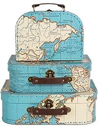 Sass & Belle–Juego 3 de cajas con diseño demapa del mundo