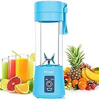 Persönlicher Mixer,Tragbar Mixer Obst wiederaufladbar mit USB, Mini Standmixer für Smoothie, Mixgetränke Fruchtsaft, Fullface Maske, 380ml, Sechs 3D-Klingen für hervorragendes Mixen (Blau)