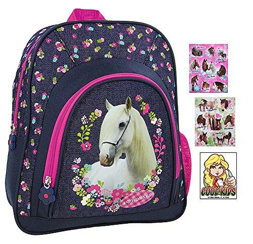 Pferde Kindergarten-Rucksack / Kindergartentasche - für die Brotdose / Trinkflasche + 16 Pferde Aufkleber - Vorschul-Rucksack