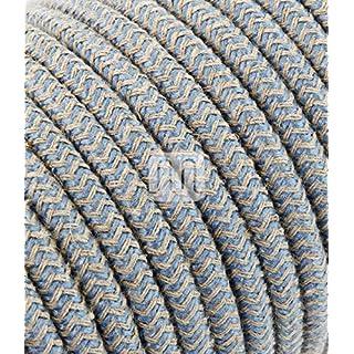 Textilkabel für Lampe 5 Meter 3 adrig jute blau 3x0,75mm2 mit Erdleiter Kabel | Textilummanteltes Lampenkabel Stoffkabel | für Elektroartikel und DIY Lampenzubehör Leuchtenkabel Stromkabel