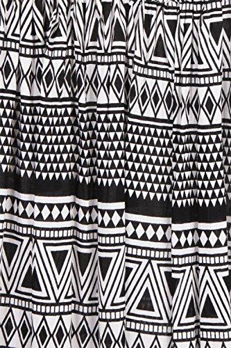Pistachio Aztèque Pour Femmes Manche Imprimé Robe Maxi Noir
