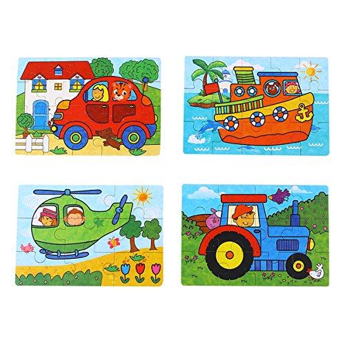 (TOYMYTOY Kinder Holzpuzzles Spielzeug, 4-in-1 Bildung und Lern Intelligenz Spielzeug Auto Flugzeug Schiff Fahrzeuge Tiere Holz Puzzles Jigsaw)