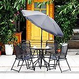 iKayaa 6 pcs Conjunto de Mesa y Sillas Plegables con Sombrilla para Jardín Patio Gris