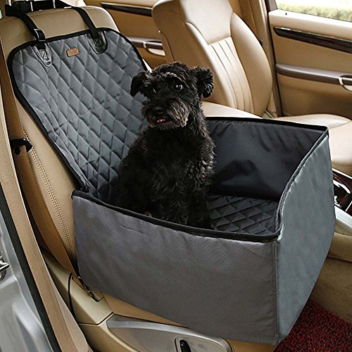 Kisspet 2 in 1 Pet dog thick waterproof car single front pet seat cover (Grey) -