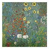 Glasbild - Kunstdruck Gustav Klimt - Bauerngarten mit Sonnenblumen - Jugendstil Quadrat 1:1, Größe HxB: 30cm x 30cm