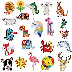 22PCS lovely Animal Appliques per abbigliamento Iron On or Sew on embroidered patch applique