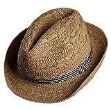Gespout Fanciullo Primavera Estate Cappello da Jazz All'aperto Casual Cappello Panama Ragazzi Cappello di Paglia Berretto da Spiaggia Protezione UV Cappello da Sole Tesa Larga,Marrone