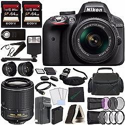 Nikon D3300 1532-9 DSLR Camera + Kit And Accessories, Black