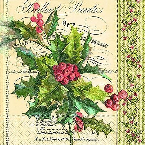 Cocktail Servietten Serviett 25x25 cm (Christmas holly) Stechpalme Weihnachtsblume Weihnachten