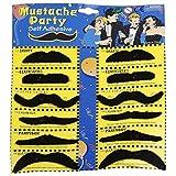 PARTY PROPZ Stickon Moustache (Set Of 12 )-Black/ fake moustache