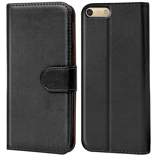 Verco Huawei P7 Mini Hülle, Handyhülle für Huawei Ascend P7 Mini Tasche PU Leder Flip Case Brieftasche - Schwarz