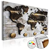 murando - Weltkarte Pinnwand 120x80 cm - Bilder mit Kork Rückwand - 1 teilig - Leinwandbilder - Korktafel - Fertig Aufgespannt - Wandbilder XXL - Kunstdrucke - Karte Welt Kontinente Gold Struktur k-A-0047-p-a 120x80 cm