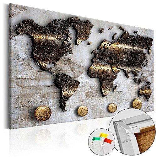 Neuheit! Weltkarte mit Kork Rückwand 60x40 cm - einteilig Bilder Leinwandbild Poster Pinnwand Kunstdruck Weltkarte Karte Welt Kontinente Gold Struktur k-A-0047-p-a 60x40 cm B&D XXL (Weltkarte Poster Stoff)