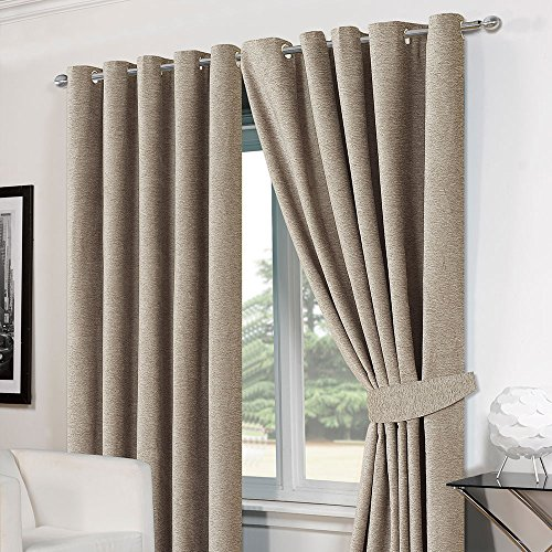 Dreamscene Luxury Ring Top Eyelet Chenille Lined Thermal Ready Made Curtains 66″ x 54″ Silver Grey