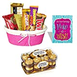#5: 16 Pieces Ferrero Rocher Dairy Milk Basket Hamper With Birthday Greeting Card 5041