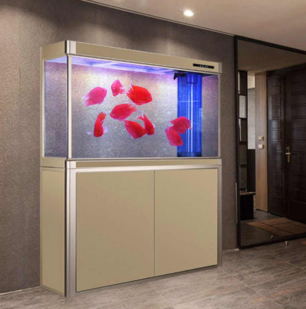 JIANGU large aquarium, filter fish tank, streamlined living room fish tank, glass ecological tank