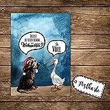 A6 Weihnachtskarte lustig Postkarte Weihnachten Print mit Hund Gans und Spruch pk116 ilka parey wandtattoo-welt®