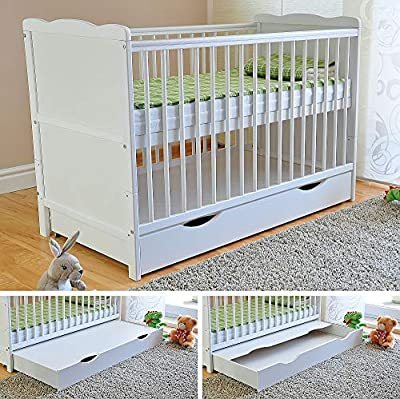 White Solid Wood Baby Cot Bed with Drawer & Deluxe Water Repellent Mattress Converts into a Junior Bed ? Height Adjustable ?